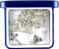 Filigree Baptism Rosary in Blue Rosary Box