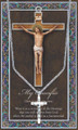 """Crucifix Pewter Medal 18"""" Chain with Leaflet"""