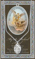 """St Michael Pewter Medal 18"""" Chain with Leaflet"""