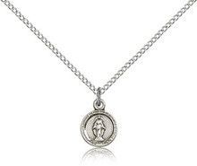 Petite Round Sterling Miraculous Medal 16-inch light curb chain