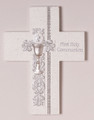 Communion Wall Cross Silver Scroll Chalice Design