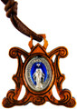 "Ave Maria Olive Wood Pendant with Miraculous Medal center on 24"" Cord"