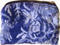 Rosary Pouch Blue & White Floral  Zipper Close