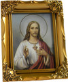 "Sacred Heart White/Red 4.5"" x 3.5"" Antique Gold Frame"