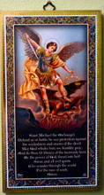 St Michael the Archangel Wood Plaque with Prayer