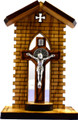 Olive Wood Shrine with St Benedict Crucifix