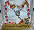 Orange and Red Cracked Glass Rosary