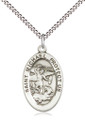"St Michael the Archangel Sterling Silver Medal 18"" Stainless Light Curb Chain"