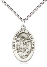 """St Michael the Archangel Sterling Silver Medal 18"""" Stainless Light Curb Chain"""