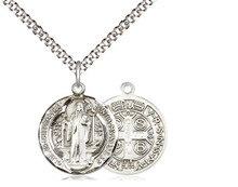 St Benedict Sterling Silver Medal 20-inch light curb chain