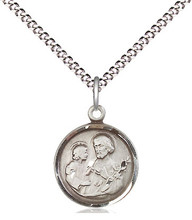 St Joseph Sterling Silver Medal 18-inch Light Curb Chain