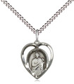 Saint Jude Heart sterling medal on a 18-inch light rhodium light curb chain