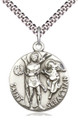 Saint Sebastian Round Sterling Medal 24-inch stainless chain