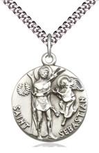 Saint Sebastian Round Sterling Medal 24-inch stainless chain