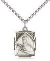 St Theresa Sterling Silver medal Stainless light curb chain
