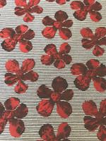 Black/White Stripe Red Floral Brocade