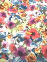 Floral Print Satin Scuba Knit