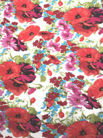 White/Crimson/Poppy/Turquoise Floral Rayon Matte Jersey Knit