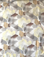 Ivory/Lemon Yellow/ Taupe Geometric Satin Back Crepe