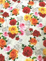 Almond/Multi Color Floral Viscose Poplin
