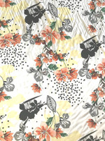 White/Orange/Lemon Floral Viscose Poplin