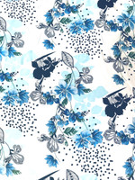 White/Robin's Egg Blue/Sky Blue/Royal Blue Floral Viscose Poplin
