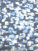 Cadet Blue/Pacific Blue/White Abstract Print Rayon Crepe