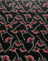 Black/ Dogwood Rose Floral Viscose Poplin