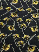 Navy/Daffodil Yellow Viscose Poplin