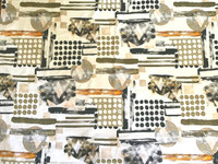 White/Khaki Green, Buff, Apricot, Black, Geometric Stretch Cotton Sateen