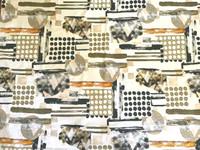 White/Khaki Green, Buff, Apricot, Black, Geometric Stretch Cotton Sateen