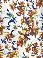 Stylized Floral Print Viscose Jersey Knit