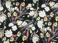 Large Floral Bouquet Stretch Cotton Sateen