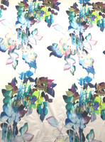 White/Turquoise Floral Cotton Stretch Sateen