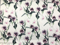 White/Malachite, Pink Floral Cotton Stretch Sateen