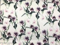White/Malachite, Pink Floral Cotton Stretch Sateen