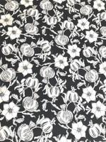 Black/White Floral Cotton Faille