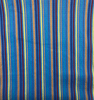 Beachside Blue Stretch Cotton Stripe Seersucker