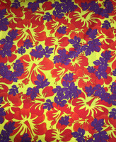 Poppy Red/ Pineapple/Plum Cotton Stretch Tropical Print