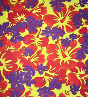 Poppy Red/ Pineapple/Plum Cotton Faille Tropical Print