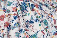 Ivory/Teal Green, Coral, Royal Blue Rayon Georgette Print