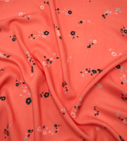Coral/Navy, Dove Grey, Weathered White Rayon Lawn Print