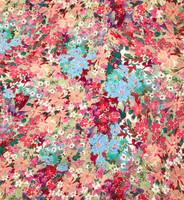 Coral, Aqua, Pink  Floral Garden Seersucker