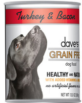 Dave's Grain Free Canned Dog Food, Turkey & Bacon, 13 oz.
