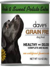Dave's Grain Free Canned Dog Food, Pork and Sweet Potato, 13 oz.