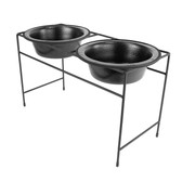 Platinum Pets Double Modern Diner, Large, Silver Vein