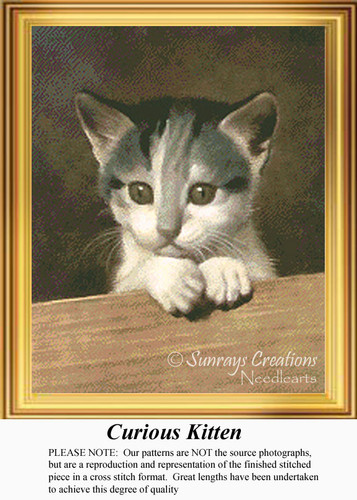 Curious Kitten, Vintage Counted Cross Stitch Pattern