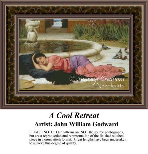 A Cool Retreat, Fine Art Counted Cross Stitch Pattern, Women Counted Cross Stitch Pattern