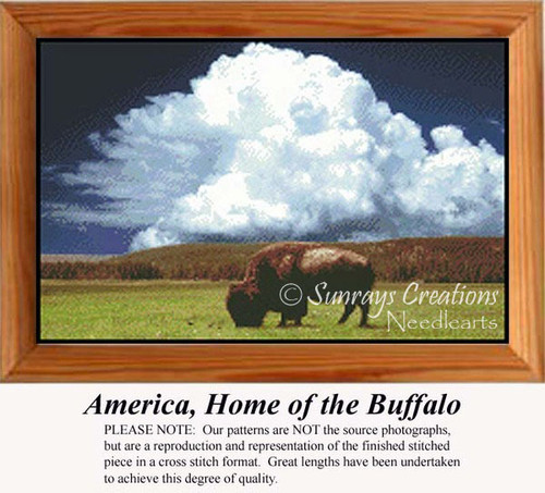 America, Home of the Buffalo, Animals Counted Cross Stitch Pattern