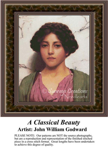A Classical Beauty, Fine Art Counted Cross Stitch Pattern, Women Counted Cross Stitch Pattern